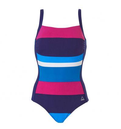 Tweka Badpak Pool Swimsuit Soft Cup Big Horizontal Stripe Blauw