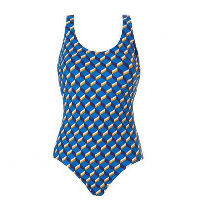 Tweka Badpak Pool Swimsuit Soft Cup Graphic Wave Blue